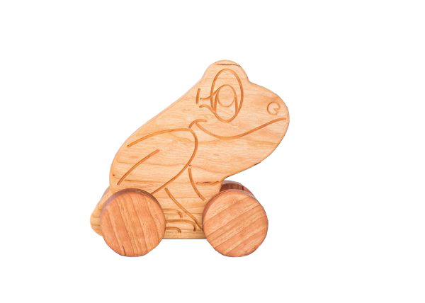 Cherry Hardwood Frog Push Toy