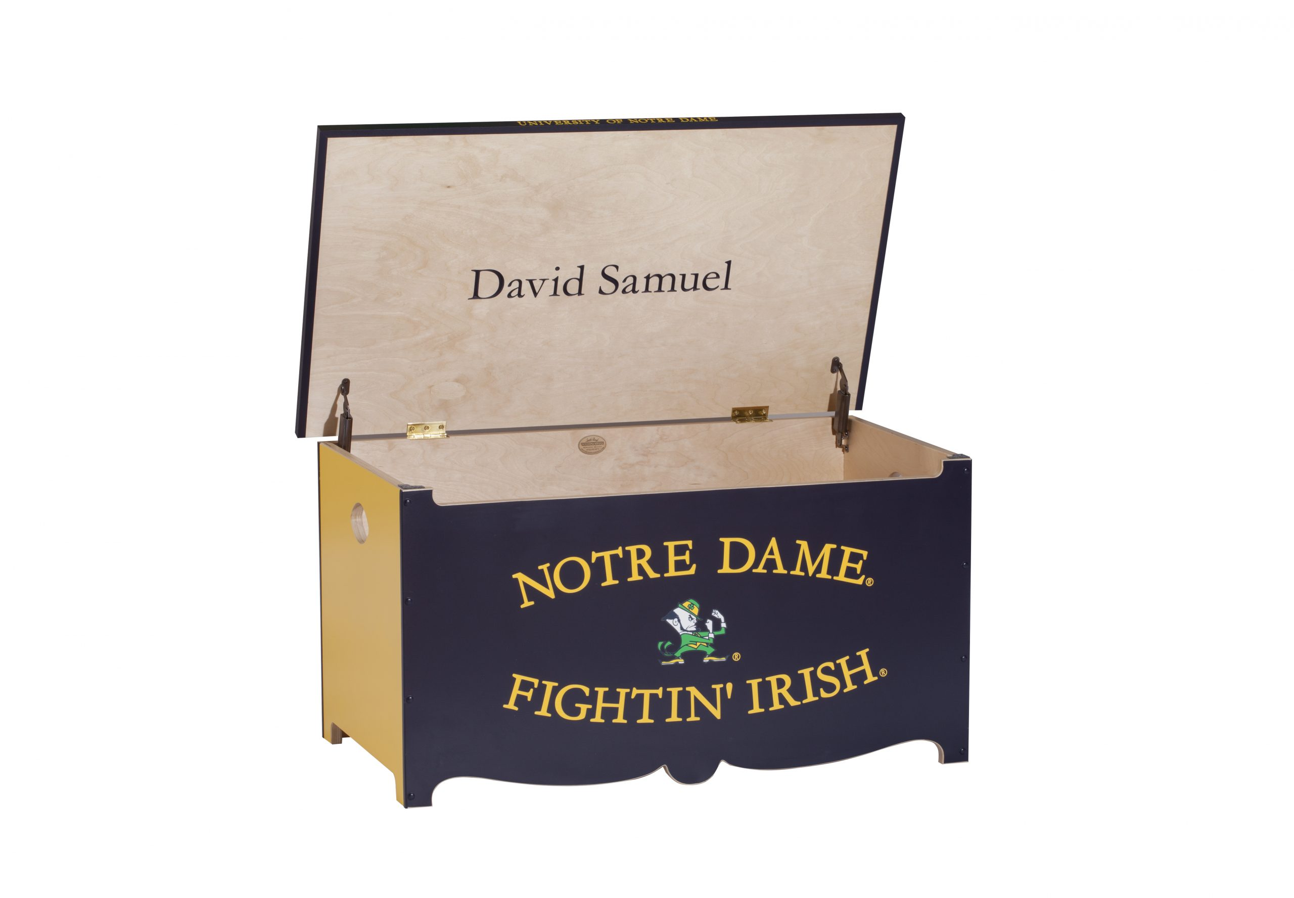 Personalized Notre Dame Wooden Toy Chest