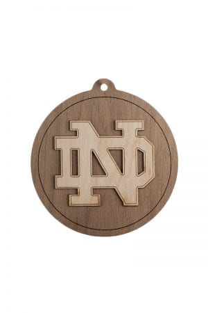 Notre Dame Block ND Round Wooden Christmas Ornament