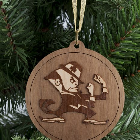 Notre Dame Leprechaun Round Wooden Christmas Ornament