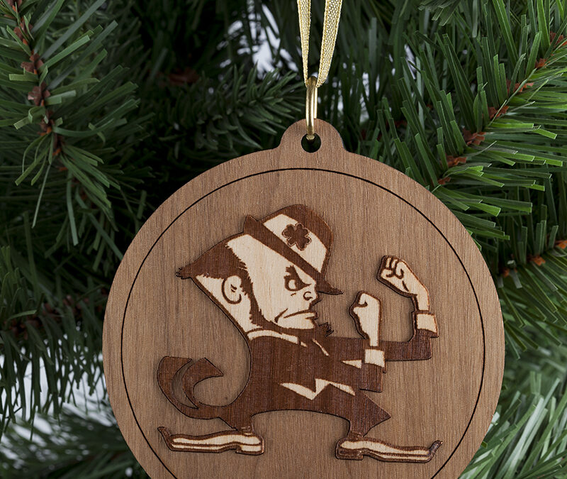 Notre Dame Leprechaun Round Wooden Christmas Ornament