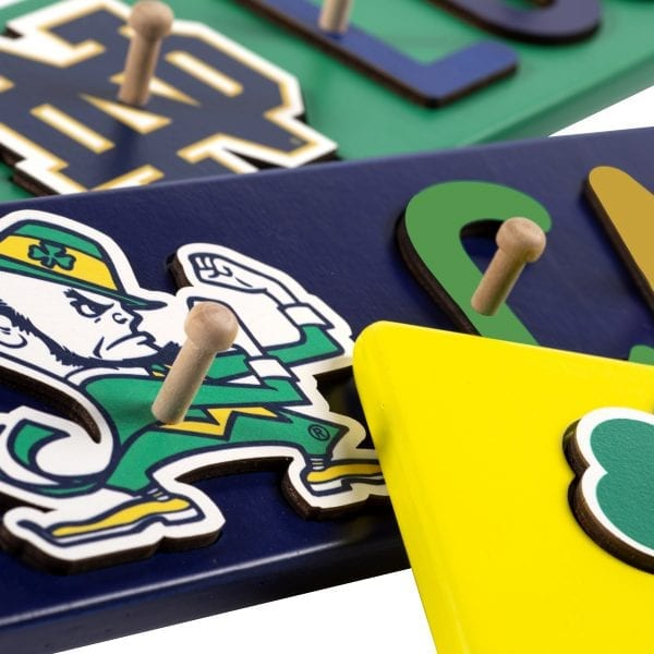 Notre Dame Painted Base Personalized Name Peg Puzzles
