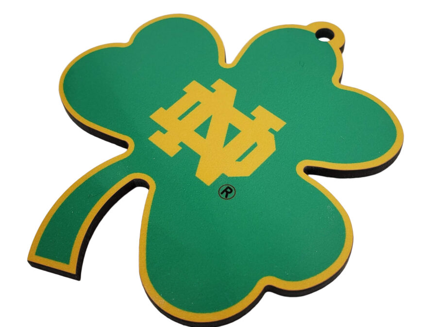 Notre Dame Shamrock Sublimated Ornament