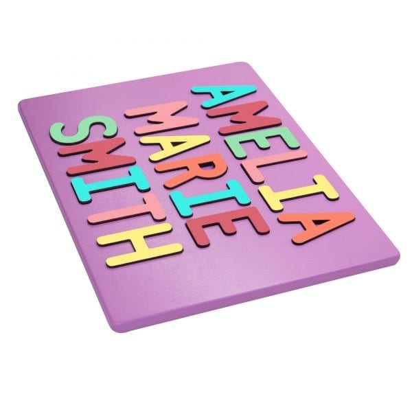 Pastel Purple Painted Base Personalized Three Name Puzzle