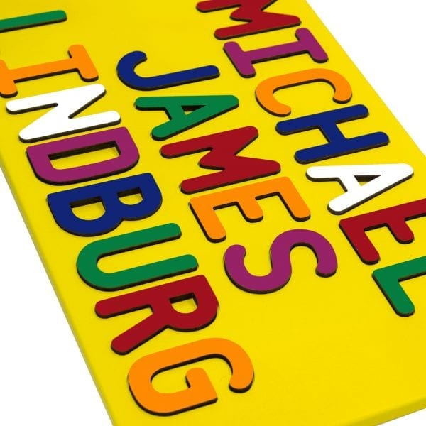Primary Yellow Painted Base Personalized Three Name Puzzle