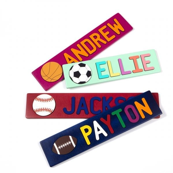 Sports Themed Painted Base Personalized Name Puzzles