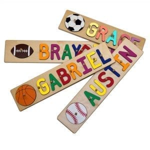 Sports Themed Personalized Name Peg Puzzles