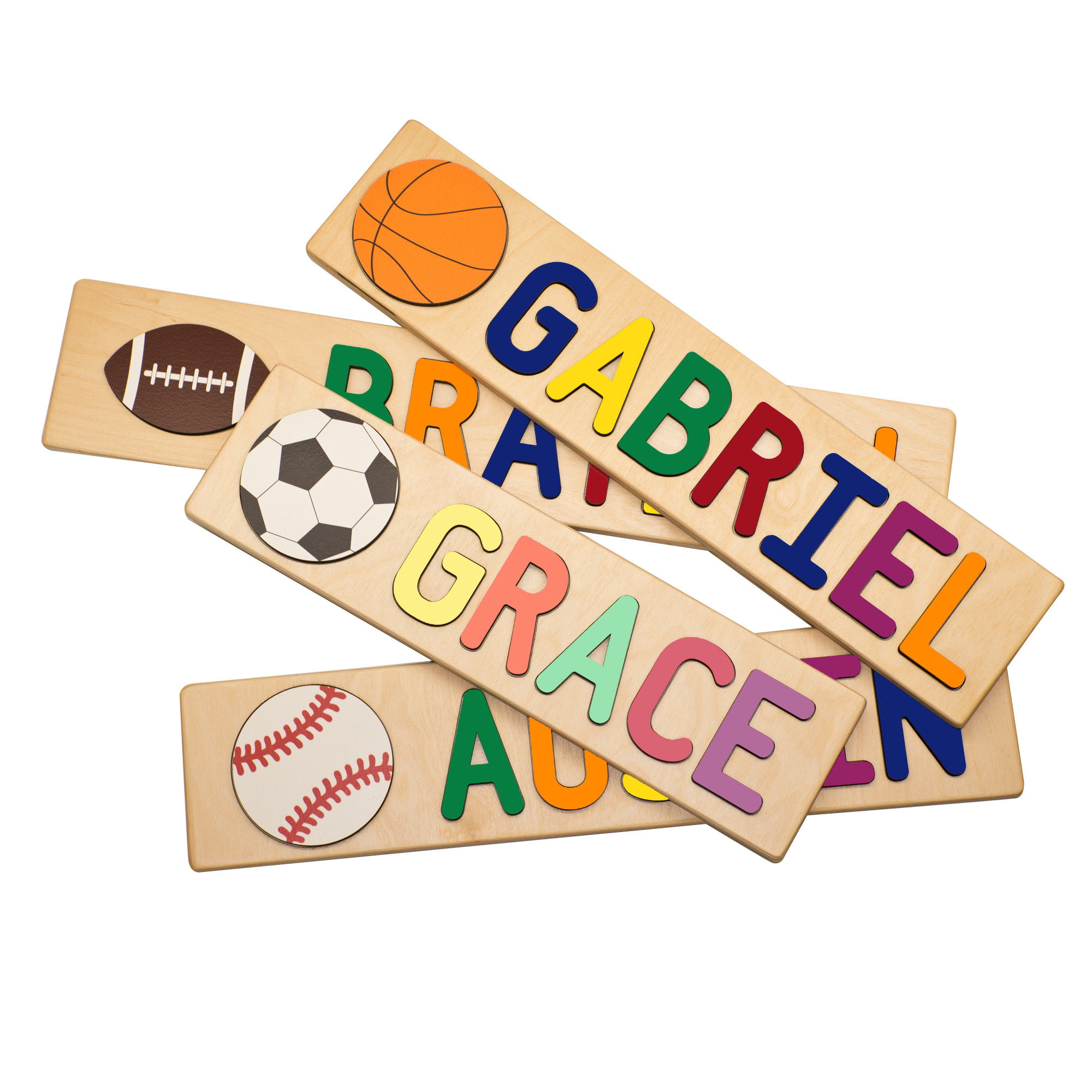 Sports Themed Personalized Wooden Name Puzzles