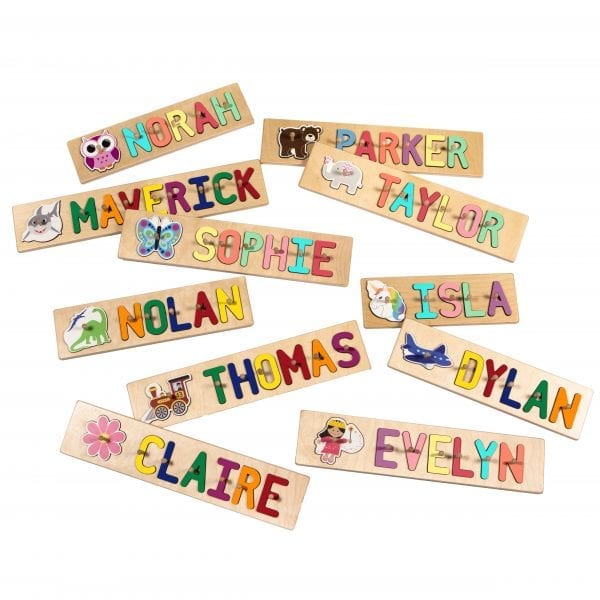 Whimsical Character Personalized Name Peg Puzzles