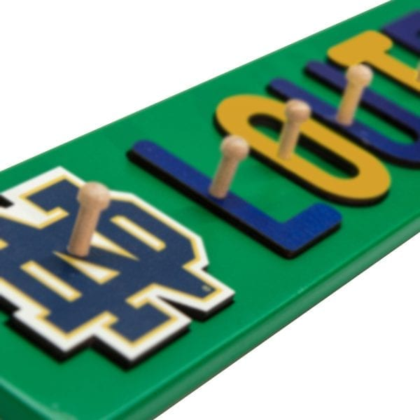 Notre Dame Painted Base Personalized Name Peg Puzzle