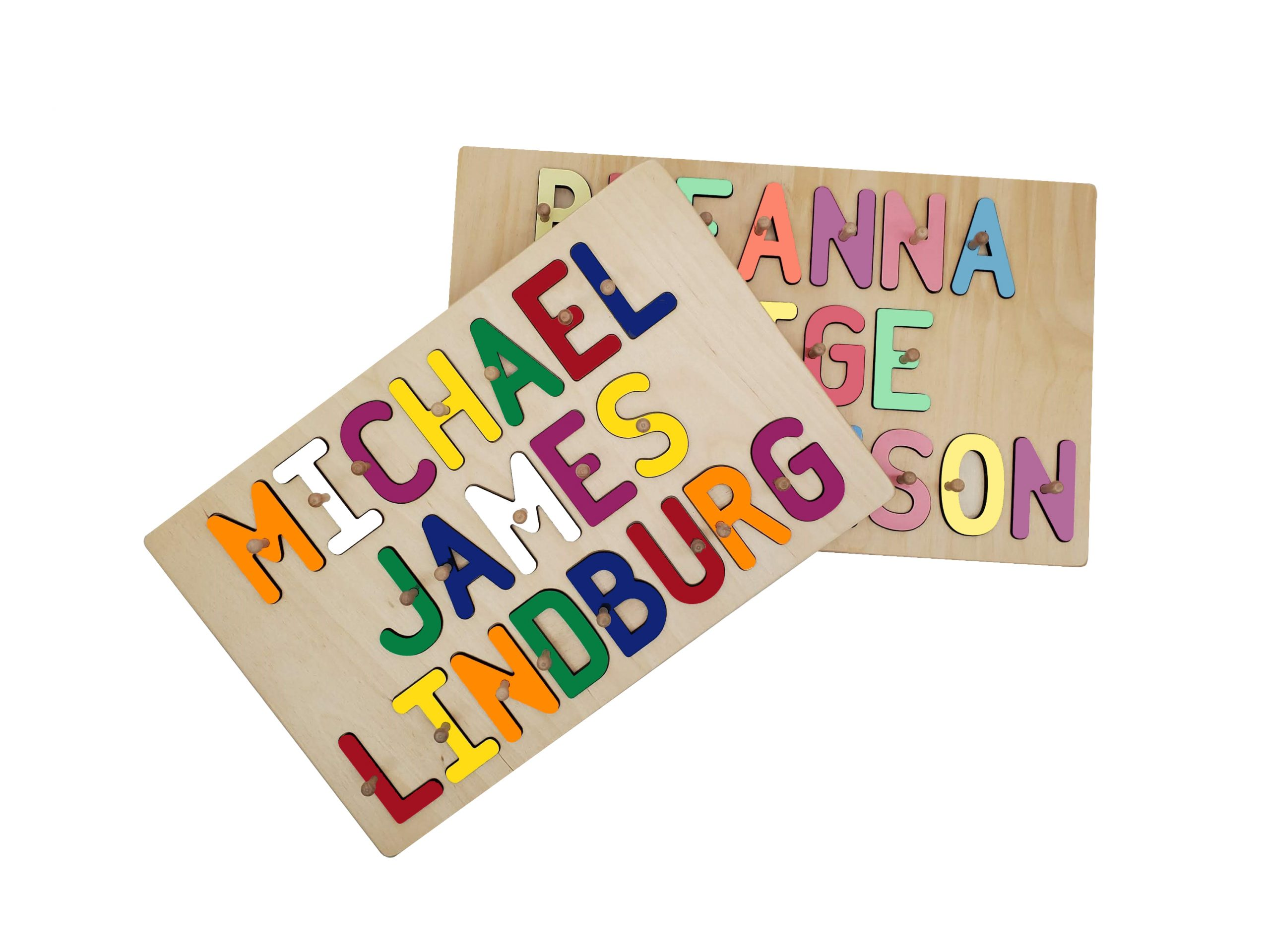 Personalized Wooden Three Name Peg Puzzle