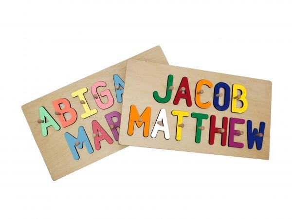 Personalized Wooden Two Name Peg Puzzle